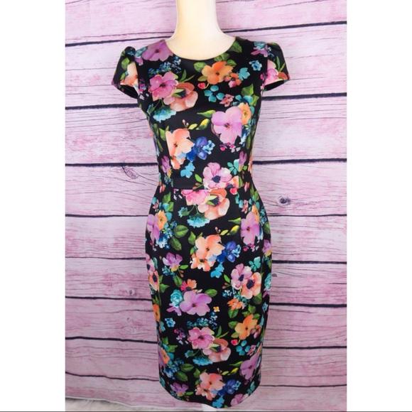7f5acc17 Betsey Johnson Dresses | Floral Print Midi Scuba Dress | Poshmark